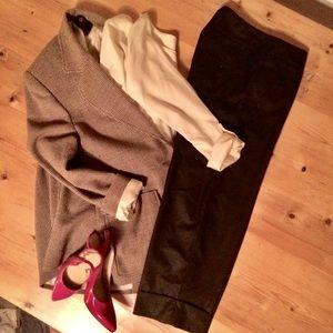 H&M 4 pant poly viscose gray cuffed cropped dress